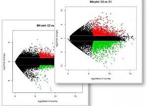 유전자 발현값을 표현한 MA Plot