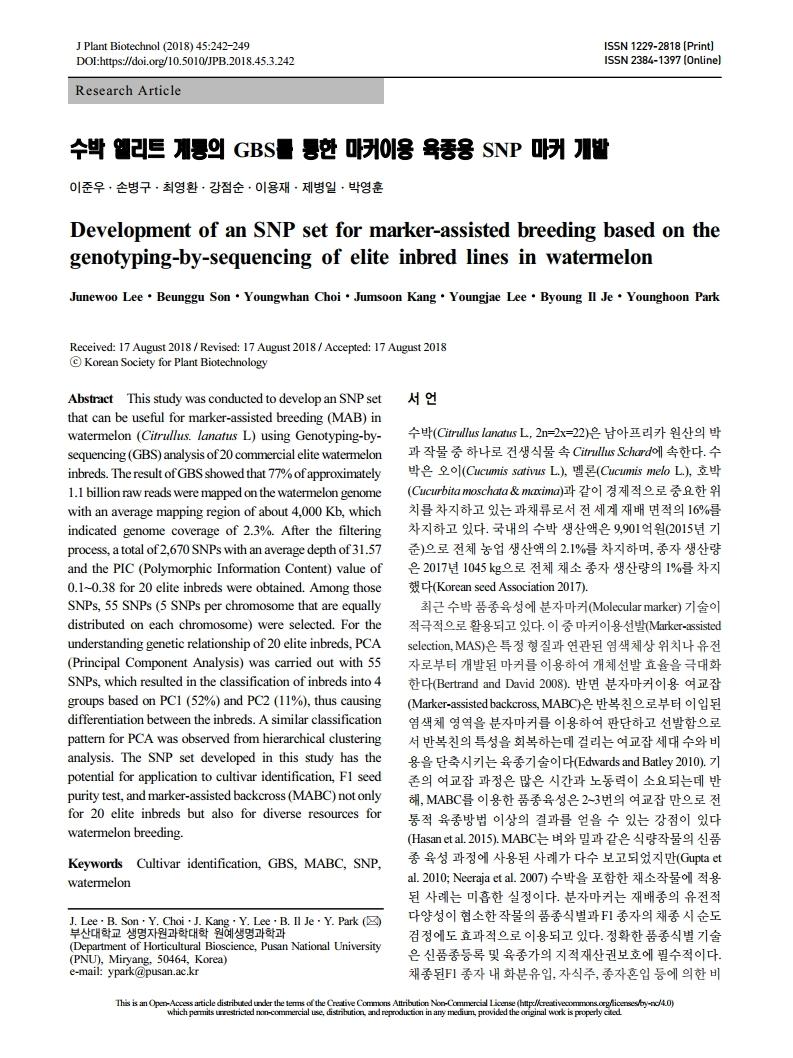 수박 엘리트계통의 GBS를 통한 마커이용 육종용 SNP 마커 개발